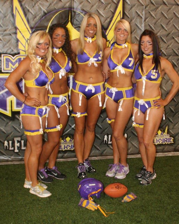 Womens lingerie football huddle