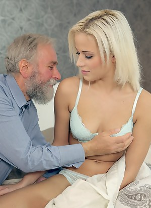 Nude girls with old men