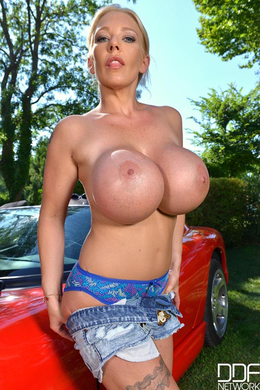 Milf on car hood
