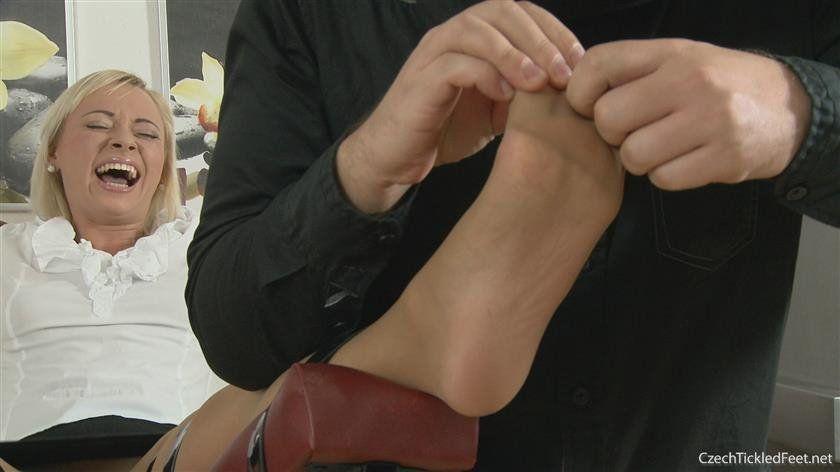 Mature nylon feet tickled