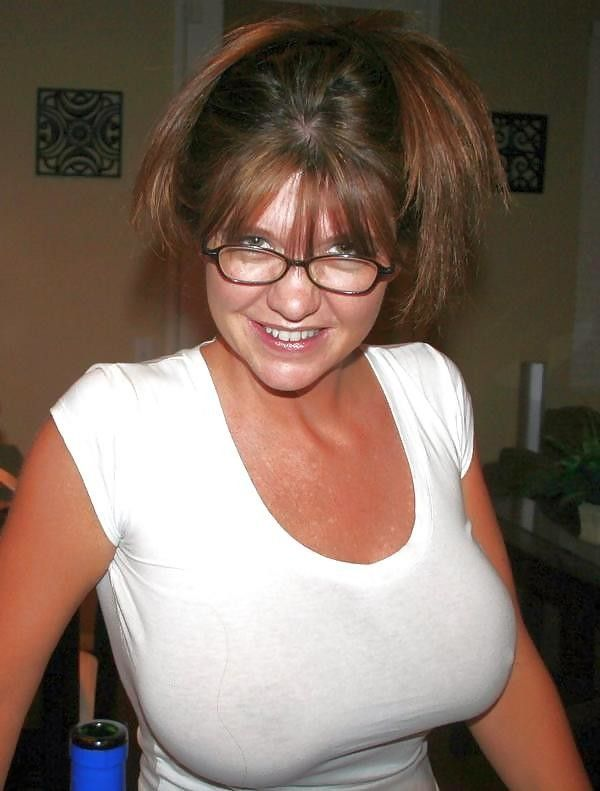 Mature milf with big tits glasses