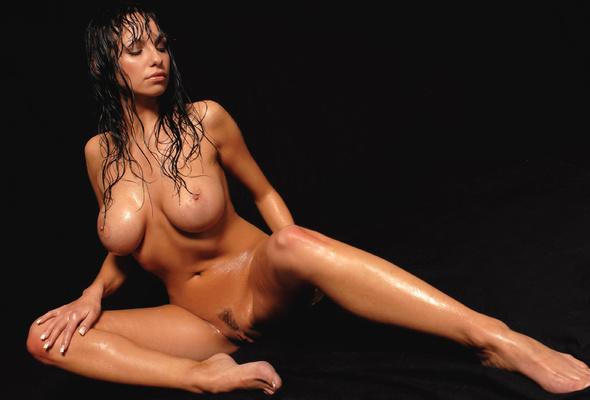 Busty wet brunette pussy spreading