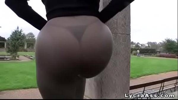 Big ass in tight yoga pants thong