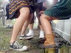 Women caught peeing in public