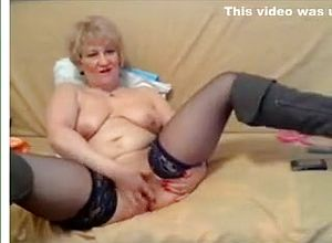 Amazing in blonde stocking homemade