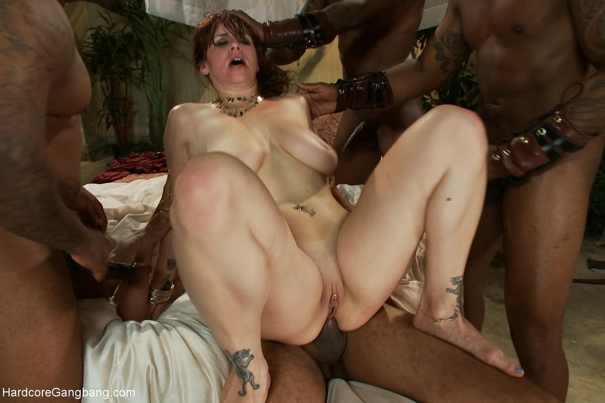 Rough interracial gangbang creampie