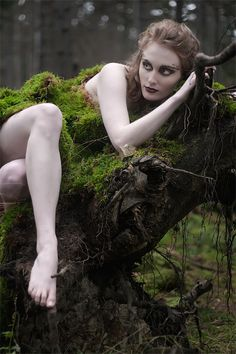 Sexy nude nymph forest fairy