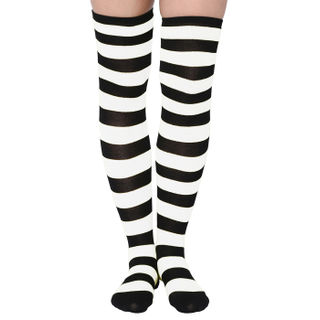 Knee socks striped and white black