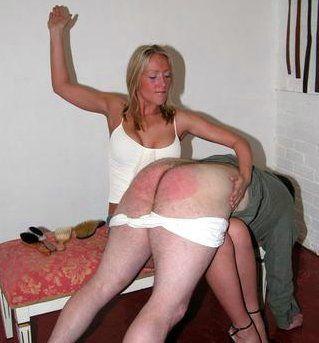 Fat woman spanks boy bare