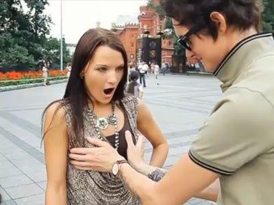 Man grabbing girls boobs