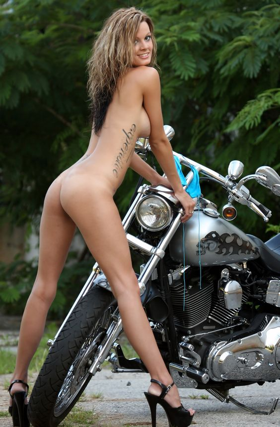 Nude lesbian girls on motorcycles