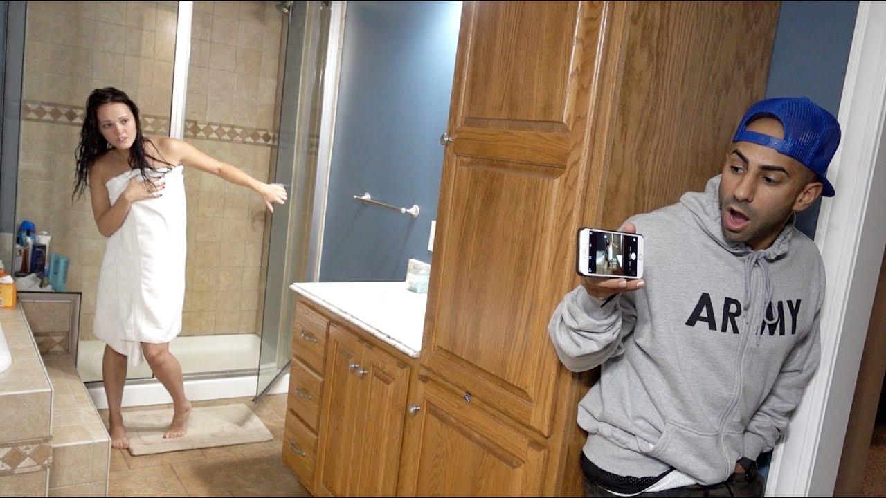 Girl friends caught shower