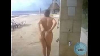 Candid women outdoor shower