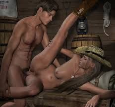Men naked in front of woman