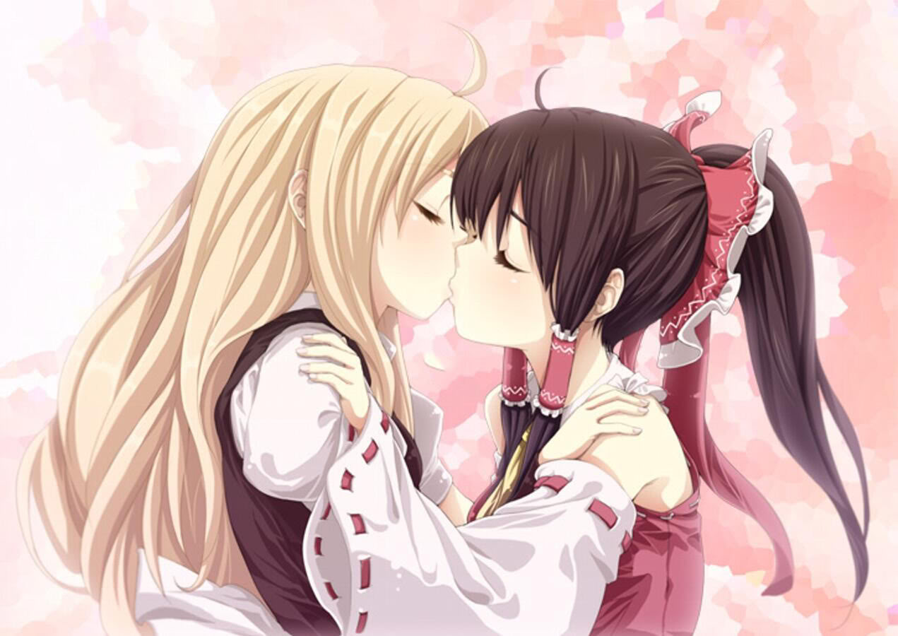 Anime yuri girls kissing