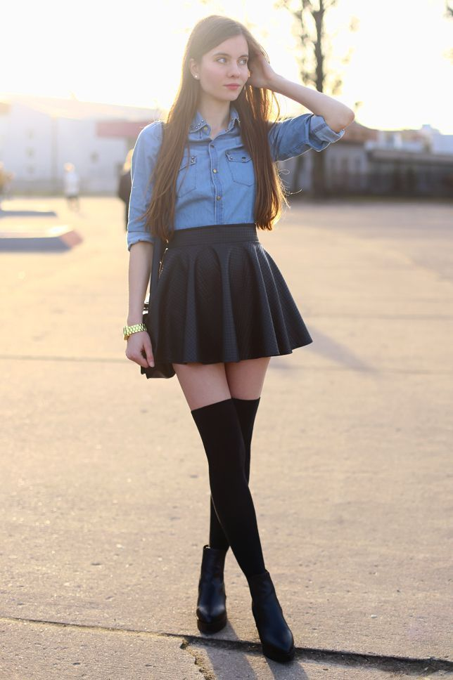 Hot girl short skirt high socks