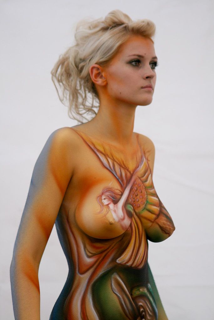 Wife naked body paint