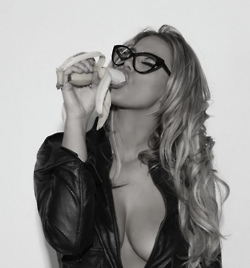 Hot sexy blonde girl with glasses